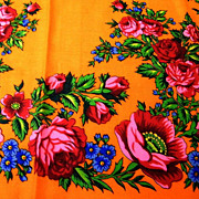 "SOLD Wool Challis Cabbage Floral..Oraange Ground..Red & Pink Flowers..30"" Square..Japan"