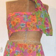 Vintage..Triple Sheer Rayon Floral Scarves From Japan In 4 Brightly Colored Grounds To Select
