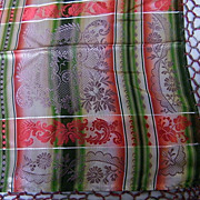1930's German Silk Damask Beige Plaid Fringed Scarve..Samples..NOS