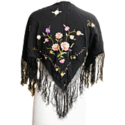 Piano Scarf..Shawl..Black Silk With Floral Embroidery..Almost Antique