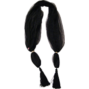 SALE Scarf / Shawl..Black Fine Net With Tassel..Sample..Mary Ann Restivo