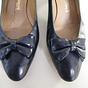 "Vintage Navy Soft Quality Leather Pumps ..2"" Shaped Heel..B Altman..Comfortable..7.5"""