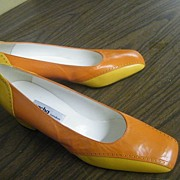 Mid-Heel Color Block Leather Shoes In Bright Orange & Gold By Sacha..Size 8-B.. New Condition