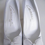 "Vintage White Leather Open Toe Heels [3""] With Bow By Caressa..Size 7 Narrow..New Conditi"