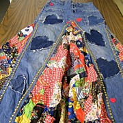 SALE Vintage..PATCHWORK Jean Skirt With Nailheads & Hearts By Little Bits New York..Excellent