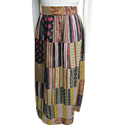 Hand Loomed Tie Silk Patchwork Maxi Skirt In Color Coordinated Patterns..By Nantucket Looms. .