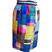 Raw Silk Solid & Checked Patchwork Wrap Skirt..Lined..Adjustable Waist