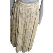 Sheer Rayon Georgette Pastel Floral Printed Maxi Skirt..Ralph Lauren..Italy..Size 10