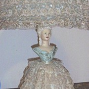 Vintage..Blue Lady Southern Bell Lamp..Ceramic..Lace Ruffled Dress & Shade