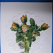 Saint Patrick's Day Collage Scraps Greeting Card..Young Boy With Walking Stick..MINT