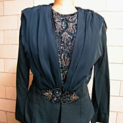 Maxi Suit With Jeweled Accents In Bottle Green By Dave & Johnny..1980's..Rayon / Acetate..USA.