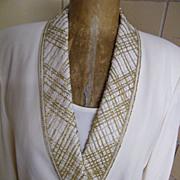 ALBERT NIPPON Evening 3 Piece..Beaded Trim.. CREAM Crepe Suit..Shawl Collar..Size 12