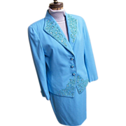 Formal 3 Piece Dress Suit..Aqua..Passementry & Rhinestone Trim..Nolan Miller..Satin Shell..Siz