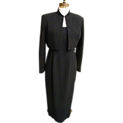 Stylized Tuxedo Dress / Suit..Jones NY..Black..Maxi..Bolaro Jacket..Size 8..Hong Kong..NWT