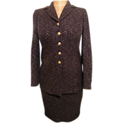 Suit..St John Knit..Boucle..Brown With Blue Accent Yarn..Jacket 2 / Skirt 4..Excellent Conditi