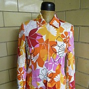 Cotton Pique Screen Printed 2 piece Suit..Red, Pink, Orange, & Gold Floral Abstract Print On W