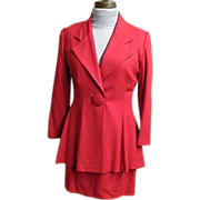 Red Wool Crepe Suit By Steven Stolman..Semi-Fitted Jacket..Straight Skirt..Size 4..USA