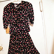 Striking Garden Party Suit..Black Ground With Small Pink, Red, Beige Roses..Rayon Crepe & Voil