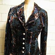 Designer Velvet Burn-Out Paisley Suit..Brown/ Teal / Black..BOSCA PARIS..Size Medium..NOS