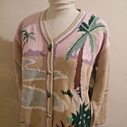 Tropical Palm Tree Cardigan Sweater By Storybook Knits...Limited Edition..Cotton / Ramie...Mul
