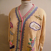 SOLD Pale Yellow Women Theme Sweater Showing Clothing & Accessories..Cotton / Ramie..1980's..L