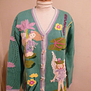 SOLD Fairy Knit Cardigan Sweater in Cotton / Ramie By Storybook Knits..Limited Edition..New Co