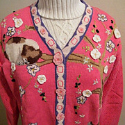 SOLD Kitten & Flowers Cardigan Sweater...Coral..Ramie / Cotton...Storybook ...Size Large / X L