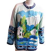 SOLD Sweater Hand Knit...Storybook Knits..Greek Parthenon..Size Medium / Large..Ramie / Cotton