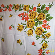 "Vintage Cotton Needlepoint  Sampler Floral Tablecloth  [50"" X 64""]"