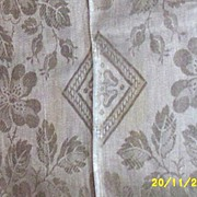 Belgian Linen Off White Damask Floral Tablecloth/Napkins With Drawnwork1930's