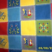 PA Dutch Patchwork Checked Wilendur Canvas Tablecloth [54 X 67]