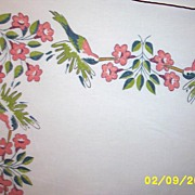 SALE PENDING Vintage Cotton Printed Hummingbird Tablecloth