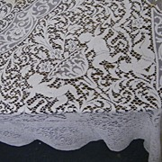 Vintage..White Lace Figural Tablecloth With Puti & Scenic Inserts