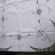 1950's Tablecloth Hand-Made in China..Satin Embroidery & Crochet Inserts..Quarter Moon Design.