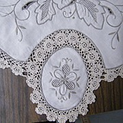 "Tablecloth 72"" X 108""...12 Napkins..Hand Embroidered & Crochet Inserts..China 1950's"