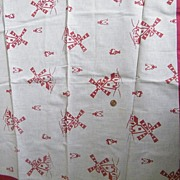 Vintage 1940's Teacloth / Tablecloth With Large Red Flocked Windmills..Natural Linen / Cotton