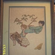 Vintage..Tapestry..Children On Swing..1920's--1930's