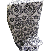 Baroque Medallion Flocked Taffeta Black Flock And White Ground Good For Gowns And Drapes