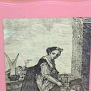 SALE Antique Toile de Jouy Woman..Child..Dog..Copper Engraved Framed Print..Cotton Sateen