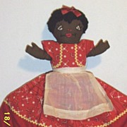 Vintage..Topsy Turvy Rag Doll..Black With Red Bandanna Print..White With Piglet Print..Excelle