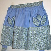 Vintage  Half Apron..Liberty  Blue Calico Floral Print With Solid Blue