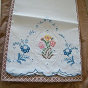 Vintage..Over-Sized Linen Guest Towel's...Embroidered..Italy..Purolino..New Condition..6 Avail
