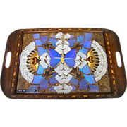 """Pressed Butterfly Wing Tray On Wood Inlay Tray..Blue Center..Rio De Janeiro..20.5"""" X 13.5"""