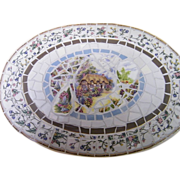 Mosaic Tray..Mix Of Scenic China & GlassTile..Signed..18X13