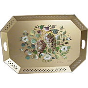 Extra Large Tole Tray ...NASHCO.. Gold Ground With Large Hand-Painted Grape Design..Signed Fre