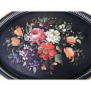 """Tole Tray..Multi Floral..With Violets..Pierced ..22"""" x 16""""..Nashco Products"""