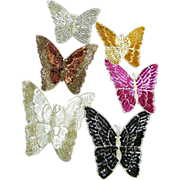 """BUTTERFLY..Vintage Designer Quality Extra Large Beaded Applique..8"""" X 7""""..New Condit"""