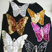 Vintage Extra Large Butterfly Sequin & Glass Beaded Applique Trims..NOS..Assorted Colors...10