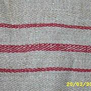 "Vintage Turkey Red Striped Heavy Linen Runner...Extra Long..90"""