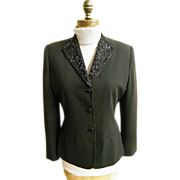 Ladies Stylized Tuxedo Semi- Fitted Jacket..Beaded Collar..Crepe..Size 8..1980's..Excellent Co